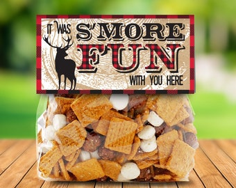 "Lumberjack Party Favor Bag Topper - S'more Treat Favor Topper, S'more Treats, 4"" Baggie Pre-Typed Topper 