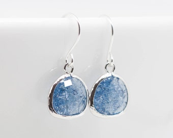 Earrings Silver Blue Broken