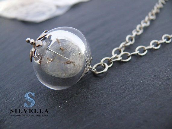 Sterling Silver Wishing Necklace - Dandelion Wishes - Wishing Necklace - Handmade Hollow Lampwork Bead, Dandelion Seed Necklace, Silver