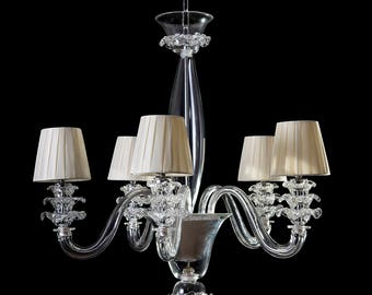 Gaius Murano chandelier 6 lights crystal with lampshades