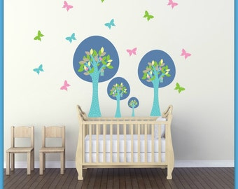 FREE SHIPPING Wall Decal Blue Trees & Butterflies Colorful. Nursery Wall Decal. Home Decor. Diy Decal. Vinyl Wall Decal.Kids Wall Decal.