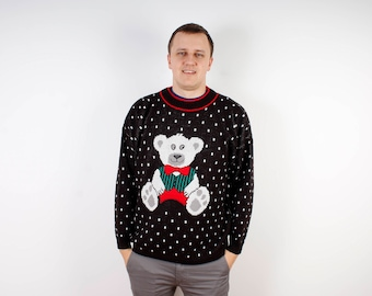 Sweater Knitted Black Sweater White Bear Men Sweater Ornament Pattern Ugly Christmas Sweater Polka Dot Black and White Size Medium