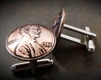 30th birthday gift for men-1988 Birthday Penny Cuff Links 30th Anniversary 30th Birthday Gift Coin Jewelry made from 1988 Penny Gift for Men