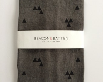 Triangle Towel : Charcoal Ground - Black Print