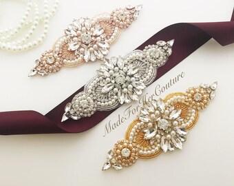 Burgundy Wedding Belt, Belts and Sashes, Wedding Sash, Burgundy Bridal Belt, Wedding Dress Sash, Burgundy Belt, Rose Gold, Gold, Silver