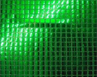 Square Sequins Hologram Fabric - GREEN - Sold By Yard Purse Wallet Dress Phone Cover Accessories