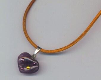 Amethyst Heart Pendant with Swarovski Rhinestones .Thin Round Light Brown Leather cord Necklace- Purple Heart Charm by enchantedbeas on Etsy