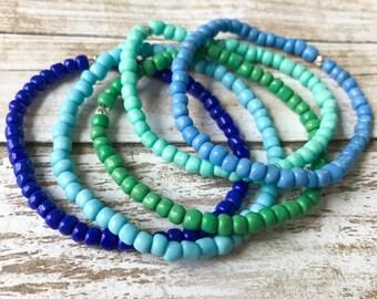 Blue Bracelet, Seed Bead Bracelet, Kids Bracelets, Stackable Bracelets, Toddler Bracelet, Childrens Jewelry, Girl Toddler Stretch Bracelet