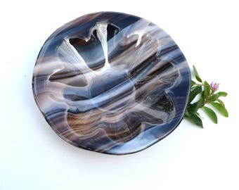 Fused glass art plate, brown grey swirly, round, deep, beveled,chocolate, bowl, home decor, kitchen, dining