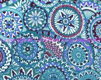 Paisley Pattern in Turquoise, Maroon and Purple. Unframed original. 29.5 x 41cm.