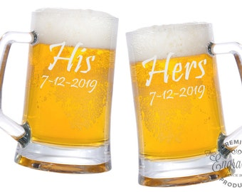 His and Hers Beer Mugs 25oz., Personalized Beer Mug, Engraved Wedding Glasses, Gifts for the Couple, Custom His Hers Beer Steins - Set of 2