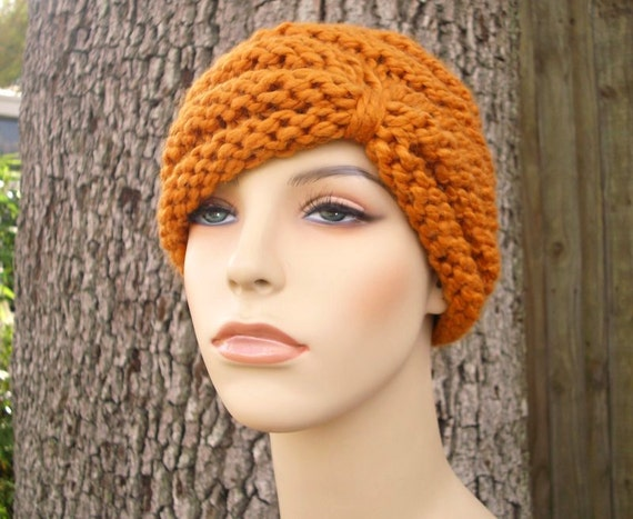 Knit Hat Womens Hat - Turban Hat Beanie in Apricot Orange Knit Hat - Orange Hat Orange Beanie Orange Turban Winter Hat - READY TO SHIP
