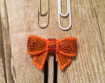 Planner Clip -  Orange Sequin Bow (Bookmark) Page Marker For Planners, Calendars, Or Books