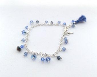 Bracelet, Blue and Silver Bracelet - blue charm bracelet - Crystal and Czech glass - something blue silk tassel bracelet.