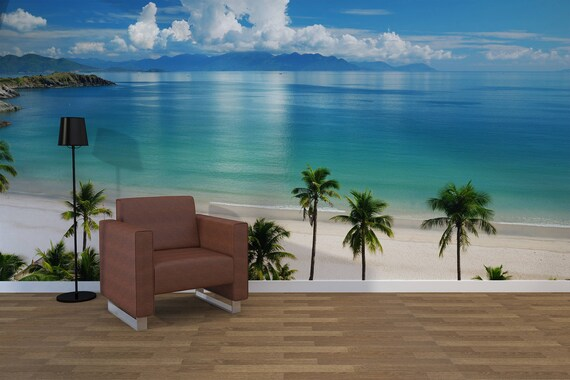 Removable Peel and Stick Wallpaper Beach Scene by LoccoStickers