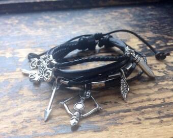 Daryl Dixon Inspired Adjustable Leather Charm Bracelet