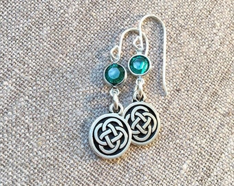 Celtic Knot and emerald green earrings / Emerald Swarovski crystals and silver Celtic earrings / Sterling silver ear wires