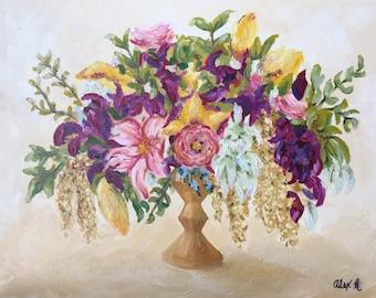 Original oil painting - floral bouquet