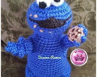 Inspired Crocheted Cookie Monster Amigurumi