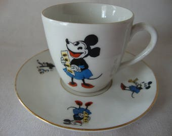 "VINTAGE MICKEY MOUSE Cup And Saucer ""Walter E. Disney"""