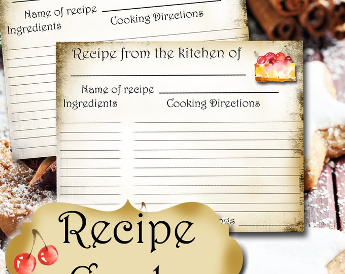 Cherry Pie RECIPE CARD•Recipe Card•Wedding Gift•New Home•New Bride