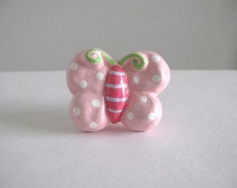 Pink Butterfly Knob - drawer knob pull for girls room ceramic dresser knob kids room
