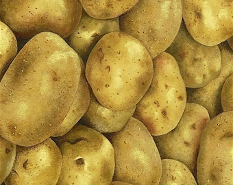 Potatoes - Food/Vegetables/Cooking - 100% Cotton Fabric [[by the half yard]]