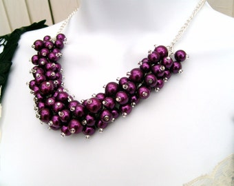 Pearl Beaded Necklace, Bridal Jewelry, Magenta, Cluster Necklace, Chunky Necklace, Bridesmaid Gift, Custom Colours, Purple, Kim Smith