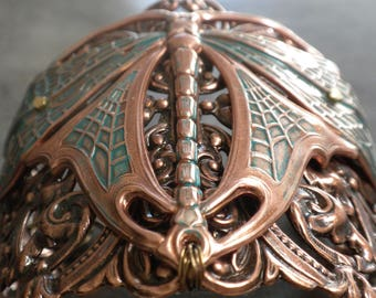 Dragonfly Bracelet Art Nouveau Insect Jewelry Wide Cuff Copper Verdigris