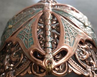 Dragonfly Bracelet Art Nouveau Insect Jewelry Wide Cuff Copper Verdigris