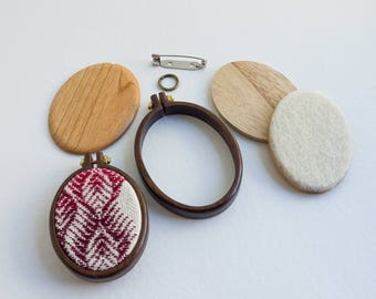 NO laser Mini hoop embroidery frame KIT - Premium hardwood: walnut, maple or cherry - (MH4255-X) - 42 x 55 mm