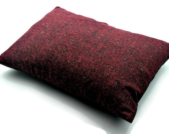 Red Decorative Oblong / Lumbar Throw Pillow Cover Rectangular Cushion Cover Wool Cheviot Tweed
