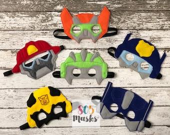 Rescue Bot Inspired masks Rescue Bots Transformer Birthday Rescue Bot Mask Transformer Mask Bumblebee Party Favor Kids Mask Dress Up