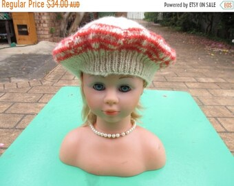 ON SALE Handmade Knitted Fawn and Striped Beret for Women from Patons Flair wool 8 ply