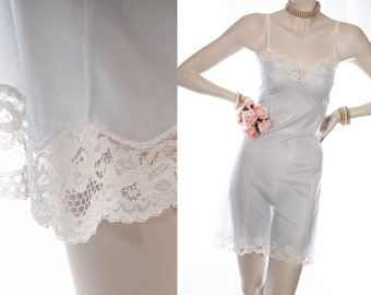 Delightful incredibly sheer silky soft baby blue nylon and delicate sexy whitefloral lace detail 1960's vintage full slip petticoat - S409
