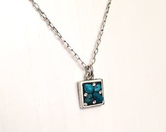"""Petite square Turquoise necklace on 18"""" chain"""