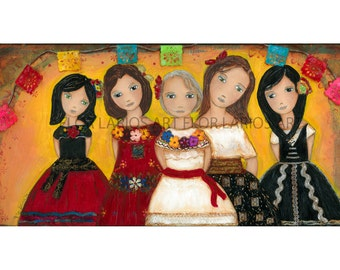 The Five of Us - Family - Print from Painting by FLOR LARIOS (5 x 10 INCHES)