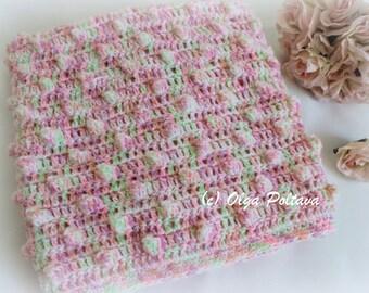 Popcorns Baby Blanket Crochet Pattern, Easy Crochet Pattern