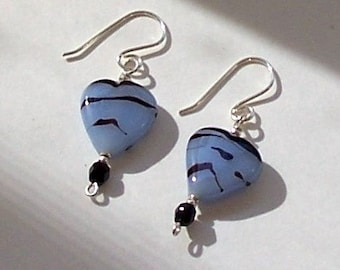 Blue Heart Earrings with Silver Filled Ear Wires by Carol Wilson of Je t'adorn