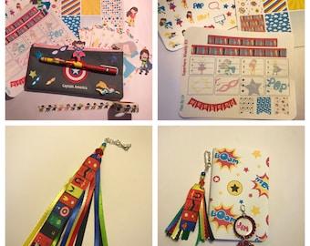 Superhero Planning Kit, Superhero Scrapbooking, Superhero Journaling, Super Hero Happy Planner Kit, Superhero Travelers Notebook Kit