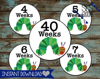 Hungry Caterpillar Printable Weekly Bump Stickers! INSTANT DOWNLOAD! 4inch Rounds