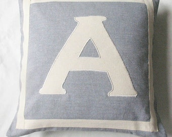 gray and off white   monogrammed pillow cover.  customized and personalized letter initial alphabet pillow. Gift pillow. Custom made