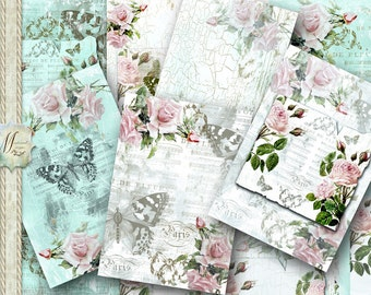 Baroque Butterfly Rose. Shabby Cottage Chic, Paris script, vintage, distressed, grunge, scrapbook, junk journals, cards, mixed media.