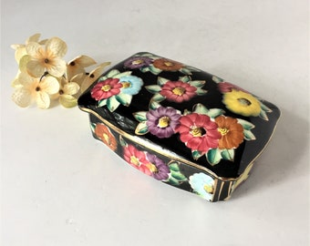 Vintage Trinket Box, Porcelain Box With Lid, Lidded Keepsake Box, Hand Painted Jewelry Casket, Floral Black and Gold, Quebec Canada Souvenir