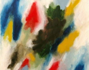 "Original abstract oil painting ""Put on Your Red Shoes and Dance the Blues"""