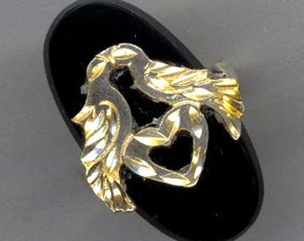 Sterling Silver Love Birds . Statement Ring. Adjustable Bird Ring. Heart Ring. Black Onyx Cabochon Ring - Love Nest by enchantedbeas on Etsy