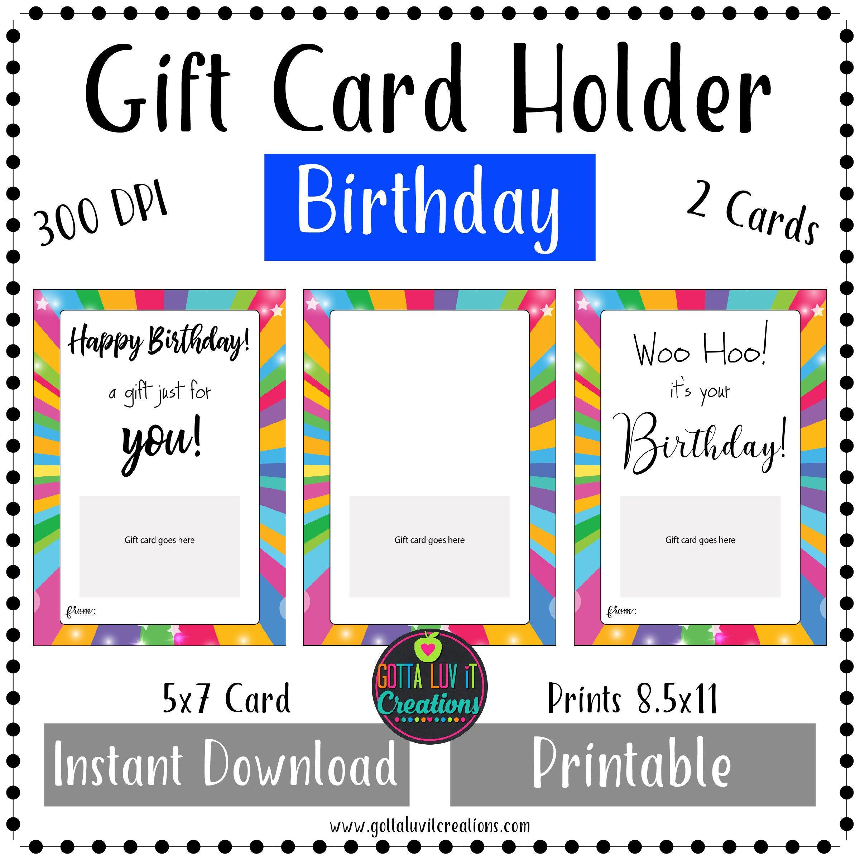 Birthday Gift Card Holder Money Printable Instant