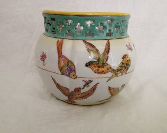 Chinese Pierced Porcelain Pot with Birds and Bugs Marked Letter A