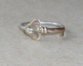 Key- Sterling Silver and Brass -Stacking Ring