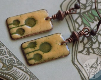 Green tree copper enamel earrings - Natural torch fired jewelry